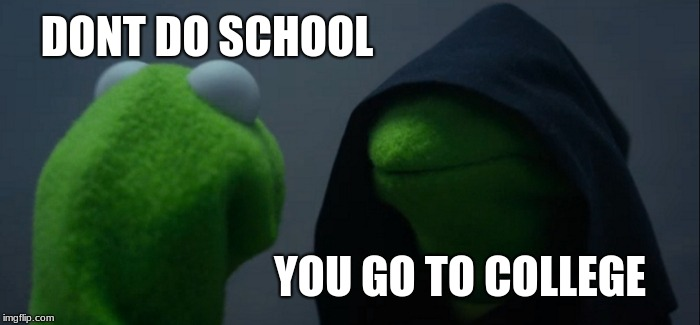 Evil Kermit Meme | DONT DO SCHOOL YOU GO TO COLLEGE | image tagged in memes,evil kermit | made w/ Imgflip meme maker