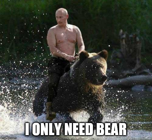 Putin Thats Cute | I ONLY NEED BEAR | image tagged in putin thats cute | made w/ Imgflip meme maker