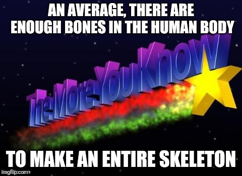 the more you know | AN AVERAGE, THERE ARE ENOUGH BONES IN THE HUMAN BODY TO MAKE AN ENTIRE SKELETON | image tagged in the more you know,memes,skeleton,bones,science,anatomy | made w/ Imgflip meme maker