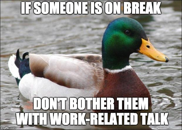 Good Advice mallard | IF SOMEONE IS ON BREAK DON'T BOTHER THEM WITH WORK-RELATED TALK | image tagged in good advice mallard,AdviceAnimals | made w/ Imgflip meme maker