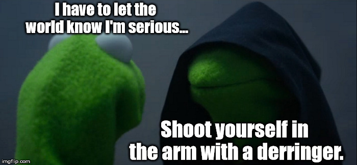 A professor walks into a campus bathroom with $100 and a two-shot derringer... | I have to let the world know I'm serious... Shoot yourself in the arm with a derringer. | image tagged in memes,evil kermit,csn charleston campus,funny | made w/ Imgflip meme maker