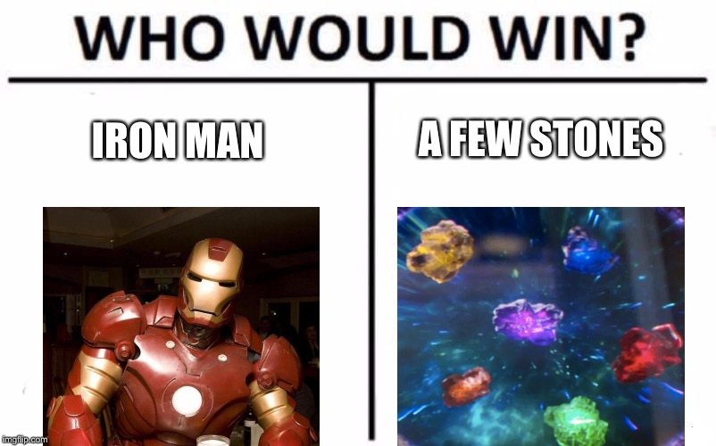 Who Would Win? | IRON MAN A FEW STONES | image tagged in memes,who would win | made w/ Imgflip meme maker