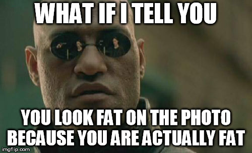 Professor Morpeus Dietetician | WHAT IF I TELL YOU YOU LOOK FAT ON THE PHOTO BECAUSE YOU ARE ACTUALLY FAT | image tagged in memes,matrix morpheus,fat,diet,photo,what if i told you | made w/ Imgflip meme maker