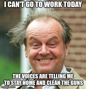 Jack Nicholson Crazy Hair | I CAN'T GO TO WORK TODAY THE VOICES ARE TELLING ME TO STAY HOME AND CLEAN THE GUNS | image tagged in jack nicholson crazy hair | made w/ Imgflip meme maker