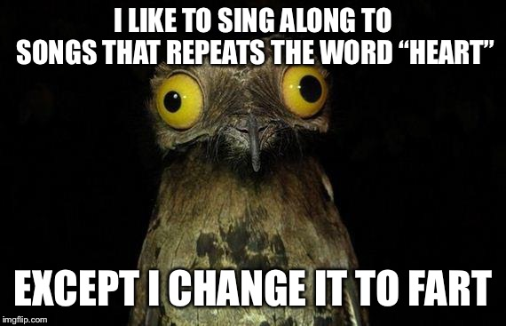 "Total eclipse of my fart, Owner of a lonely fart, Listen to her fart, Fart of Gold | I LIKE TO SING ALONG TO SONGS THAT REPEATS THE WORD ""HEART"" EXCEPT I CHANGE IT TO FART 