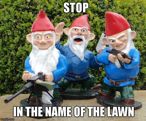 Lawn Enforcement | STOP IN THE NAME OF THE LAWN | image tagged in memes,funny,garden gnomes,get off my lawn,law enforcement | made w/ Imgflip meme maker