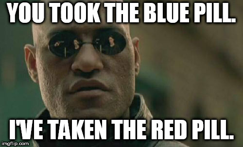 YOU TOOK THE BLUE PILL. I'VE TAKEN THE RED PILL. | image tagged in memes,matrix morpheus | made w/ Imgflip meme maker