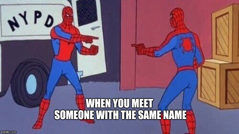 WHEN YOU MEET SOMEONE WITH THE SAME NAME | image tagged in funny,spiderman | made w/ Imgflip meme maker