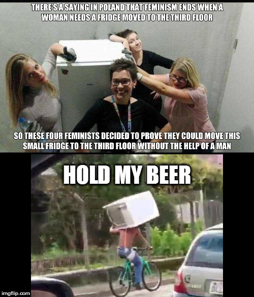 Striking a blow! | THERE'S A SAYING IN POLAND THAT FEMINISM ENDS WHEN A WOMAN NEEDS A FRIDGE MOVED TO THE THIRD FLOOR HOLD MY BEER SO THESE FOUR FEMINISTS DECI | image tagged in memes,feminism,hold my beer | made w/ Imgflip meme maker