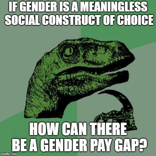 Philosoraptor | IF GENDER IS A MEANINGLESS SOCIAL CONSTRUCT OF CHOICE HOW CAN THERE BE A GENDER PAY GAP? | image tagged in memes,philosoraptor | made w/ Imgflip meme maker