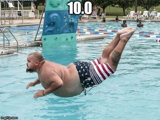 When you gracefully take a dive | 10.0 | image tagged in diving,american flag,swimming,pool,bald,hefty | made w/ Imgflip meme maker