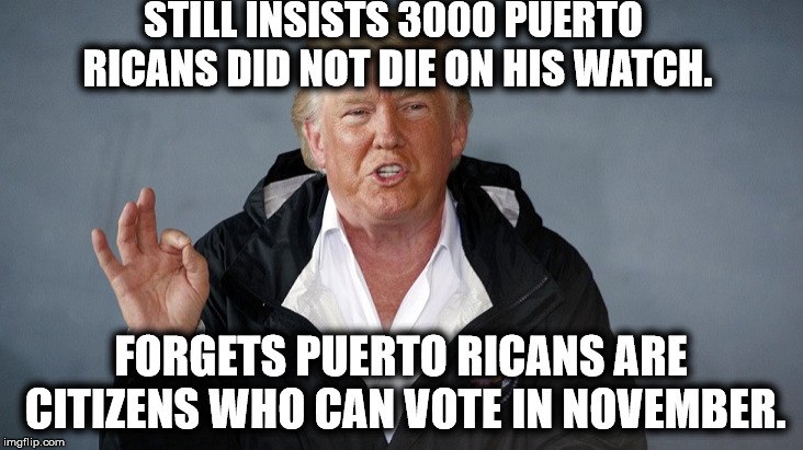 Duhhhhh | STILL INSISTS 3000 PUERTO RICANS DID NOT DIE ON HIS WATCH. FORGETS PUERTO RICANS ARE CITIZENS WHO CAN VOTE IN NOVEMBER. | image tagged in donald trump,puerto rico,hurricane,death toll,traitor,lies | made w/ Imgflip meme maker