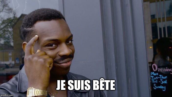 Roll Safe Think About It Meme | JE SUIS BÊTE | image tagged in memes,roll safe think about it | made w/ Imgflip meme maker