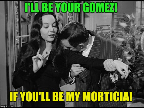 For my squishy tush! | I'LL BE YOUR GOMEZ! IF YOU'LL BE MY MORTICIA! | image tagged in addams family,still a better love story than twilight | made w/ Imgflip meme maker