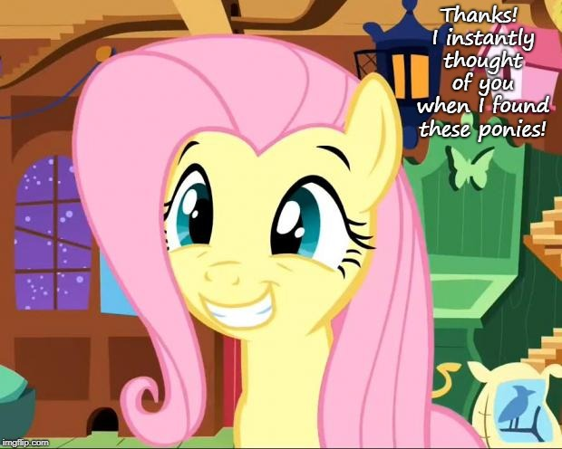 Happy Fluttershy | Thanks! I instantly thought of you when I found these ponies! | image tagged in happy fluttershy | made w/ Imgflip meme maker