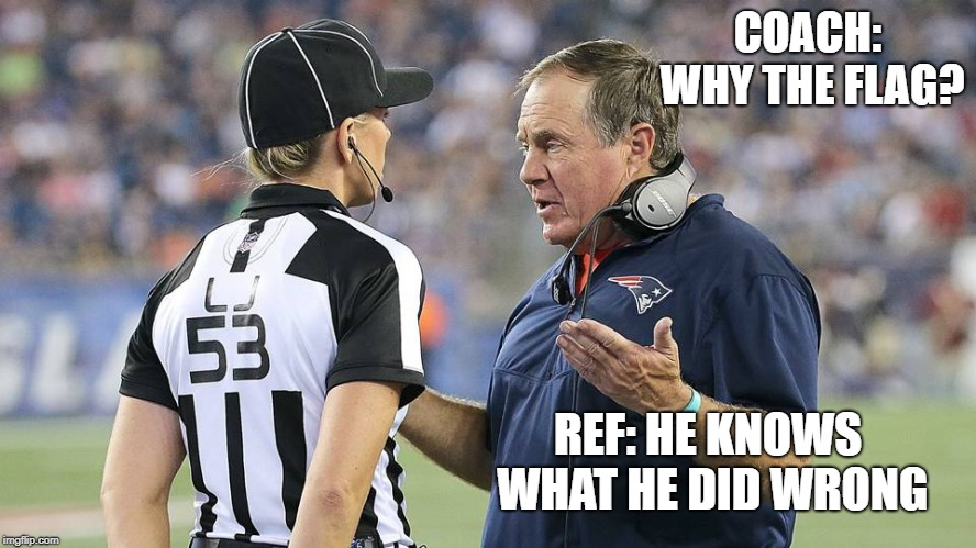 female ref | COACH: WHY THE FLAG? REF: HE KNOWS WHAT HE DID WRONG | image tagged in nfl referee | made w/ Imgflip meme maker