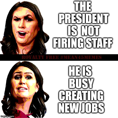 Sarah Sanders News Spin | THE PRESIDENT IS  NOT FIRING STAFF HE IS BUSY CREATING NEW JOBS | image tagged in sarah sanders before after,sarah sanders,news,spin,mean45memes | made w/ Imgflip meme maker
