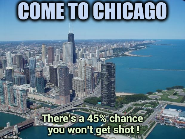 Have pity on whoever has to promote Chicago tourism | COME TO CHICAGO There's a 45% chance you won't get shot ! | image tagged in chicago,i too like to live dangerously,cubs,bears,bulls,oh my | made w/ Imgflip meme maker