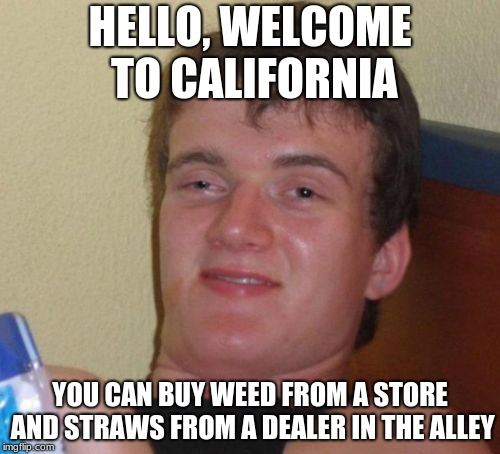 10 Guy | HELLO, WELCOME TO CALIFORNIA YOU CAN BUY WEED FROM A STORE AND STRAWS FROM A DEALER IN THE ALLEY | image tagged in memes,10 guy | made w/ Imgflip meme maker