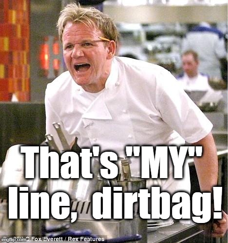 "Chef Gordon Ramsay Meme | That's ""MY"" line,  dirtbag! 