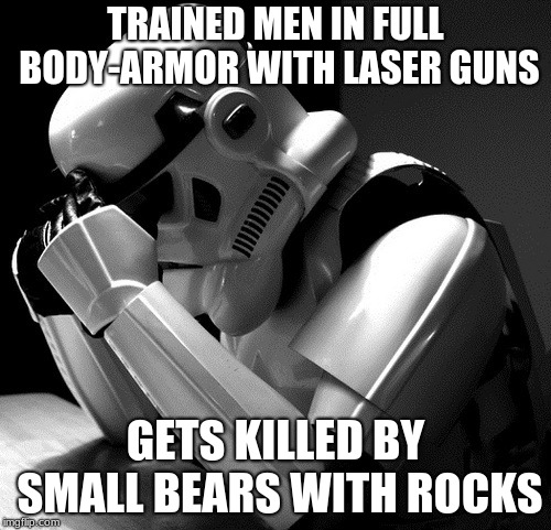 true | TRAINED MEN IN FULL BODY-ARMOR WITH LASER GUNS GETS KILLED BY SMALL BEARS WITH ROCKS | image tagged in stormtrooper | made w/ Imgflip meme maker