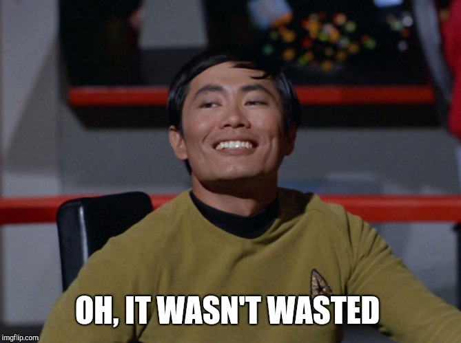 Sulu smug | OH, IT WASN'T WASTED | image tagged in sulu smug | made w/ Imgflip meme maker