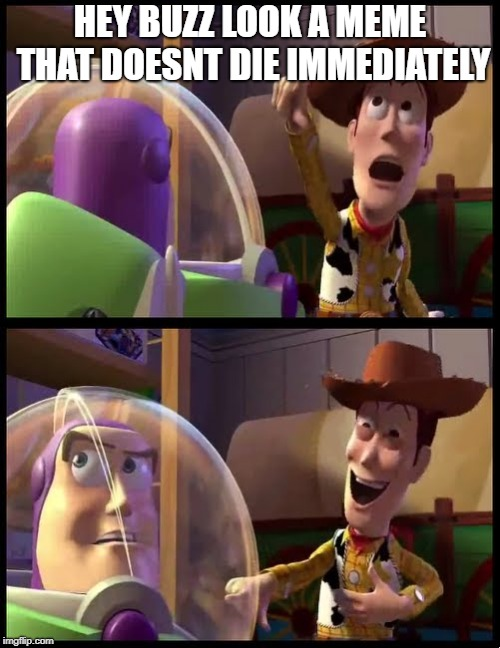 Hey buzz look an X |  HEY BUZZ LOOK A MEME THAT DOESNT DIE IMMEDIATELY | image tagged in hey buzz look an x | made w/ Imgflip meme maker