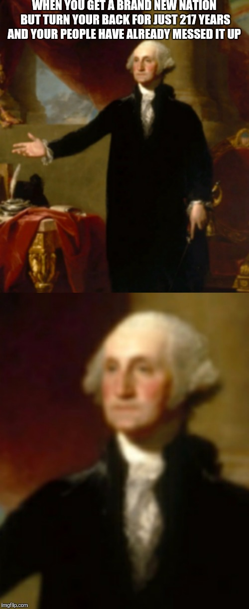 What did George do to deserve this??  | WHEN YOU GET A BRAND NEW NATION BUT TURN YOUR BACK FOR JUST 217 YEARS AND YOUR PEOPLE HAVE ALREADY MESSED IT UP | image tagged in george washington | made w/ Imgflip meme maker