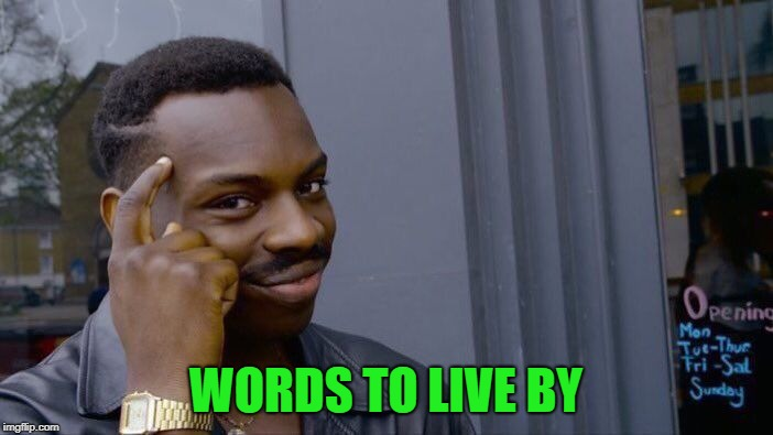 Roll Safe Think About It Meme | WORDS TO LIVE BY | image tagged in memes,roll safe think about it | made w/ Imgflip meme maker