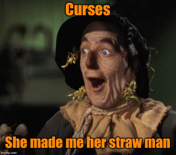 Straw Man - What a Great Idea | Curses She made me her straw man | image tagged in straw man - what a great idea | made w/ Imgflip meme maker