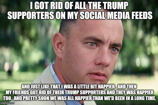 Forrest gump | I GOT RID OF ALL THE TRUMP SUPPORTERS ON MY SOCIAL MEDIA FEEDS AND JUST LIKE THAT I WAS A LITTLE BIT HAPPIER.  AND THEN MY FRIENDS GOT RID O | image tagged in forrest gump | made w/ Imgflip meme maker