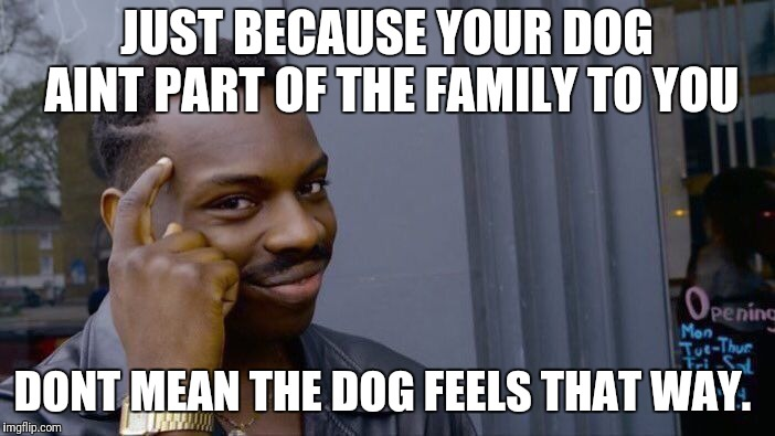 Roll Safe Think About It Meme | JUST BECAUSE YOUR DOG AINT PART OF THE FAMILY TO YOU DONT MEAN THE DOG FEELS THAT WAY. | image tagged in memes,roll safe think about it | made w/ Imgflip meme maker
