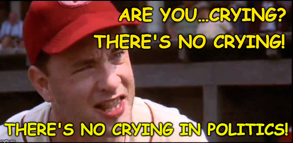 There's no crying in politics! | ARE YOU…CRYING? THERE'S NO CRYING IN POLITICS! THERE'S NO CRYING! | image tagged in politics,movies,tom hanks | made w/ Imgflip meme maker