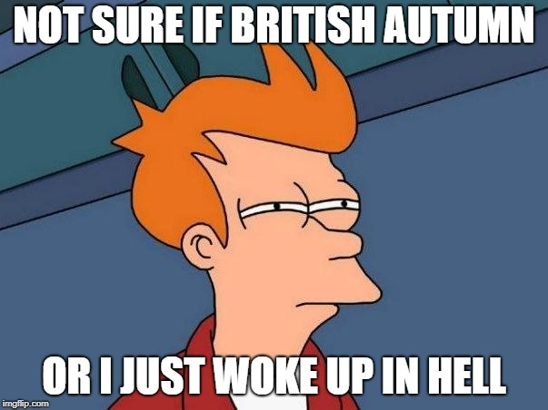 Not sure if- fry |  NOT SURE IF BRITISH AUTUMN; OR I JUST WOKE UP IN HELL | image tagged in not sure if- fry | made w/ Imgflip meme maker