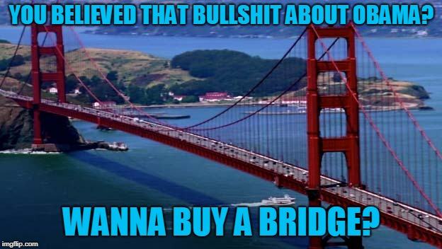 Golden Gate Bridge | YOU BELIEVED THAT BULLSHIT ABOUT OBAMA? WANNA BUY A BRIDGE? | image tagged in golden gate bridge | made w/ Imgflip meme maker