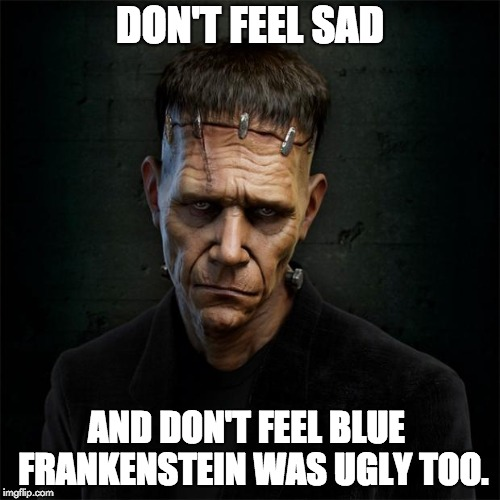 Frankenstein | DON'T FEEL SAD AND DON'T FEEL BLUE  FRANKENSTEIN WAS UGLY TOO. | image tagged in frankenstein | made w/ Imgflip meme maker