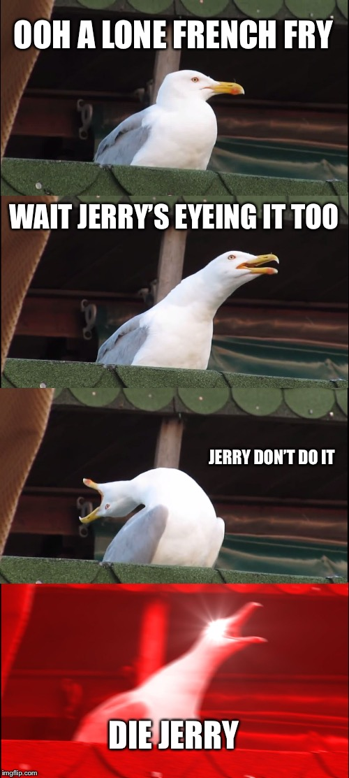 FREAKING JERRY | OOH A LONE FRENCH FRY WAIT JERRY'S EYEING IT TOO JERRY DON'T DO IT DIE JERRY | image tagged in memes,inhaling seagull,jerry,kamehameha,triggered,ahhhhh | made w/ Imgflip meme maker