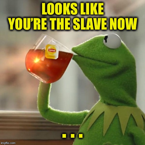 But Thats None Of My Business Meme | LOOKS LIKE YOU'RE THE SLAVE NOW . . . | image tagged in memes,but thats none of my business,kermit the frog | made w/ Imgflip meme maker