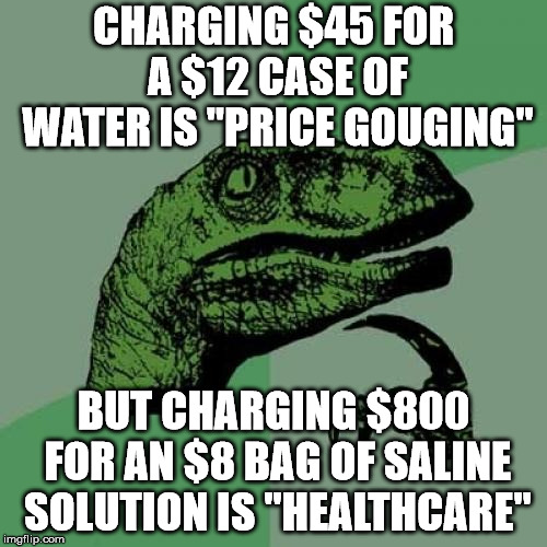 "Philosoraptor Meme | CHARGING $45 FOR A $12 CASE OF WATER IS ""PRICE GOUGING"" BUT CHARGING $800 FOR AN $8 BAG OF SALINE SOLUTION IS ""HEALTHCARE"" 