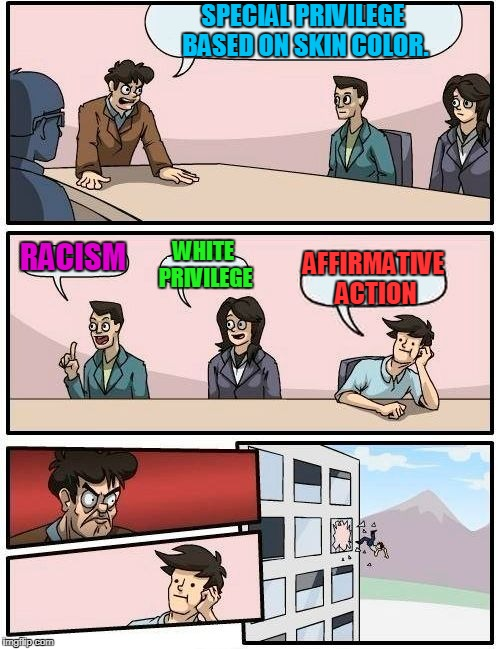 Truth? You Can't Handle the Truth! | SPECIAL PRIVILEGE BASED ON SKIN COLOR. RACISM WHITE PRIVILEGE AFFIRMATIVE ACTION | image tagged in memes,boardroom meeting suggestion,diversity,racism,affirmative action | made w/ Imgflip meme maker