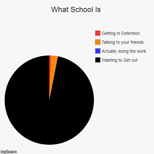 What School Is | Wanting to Get out, Actually doing the work, Talking to your friends, Getting in Detention | image tagged in funny,pie charts | made w/ Imgflip pie chart maker
