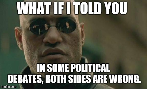 Matrix Morpheus Meme | WHAT IF I TOLD YOU IN SOME POLITICAL DEBATES, BOTH SIDES ARE WRONG. | image tagged in memes,matrix morpheus | made w/ Imgflip meme maker