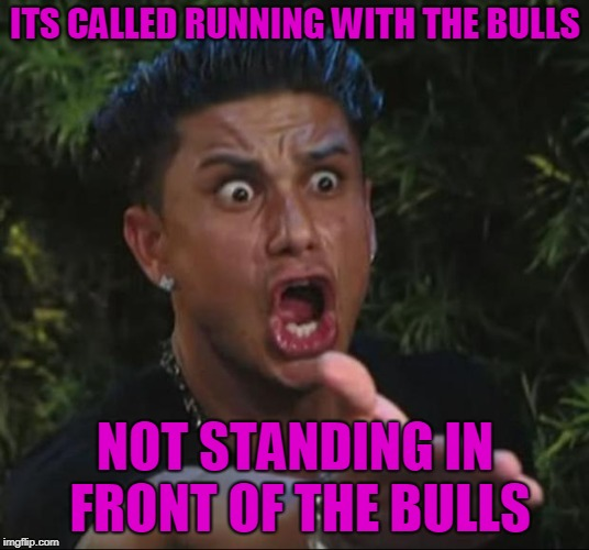 DJ Pauly D Meme | ITS CALLED RUNNING WITH THE BULLS NOT STANDING IN FRONT OF THE BULLS | image tagged in memes,dj pauly d | made w/ Imgflip meme maker