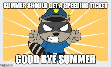 Summer always passes too quickly | SUMMER SHOULD GET A SPEEDING TICKET GOOD BYE SUMMER | image tagged in end of summer,first day of autumn | made w/ Imgflip meme maker