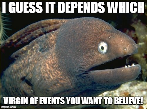 Bad Joke Eel Meme | I GUESS IT DEPENDS WHICH VIRGIN OF EVENTS YOU WANT TO BELIEVE! | image tagged in memes,bad joke eel | made w/ Imgflip meme maker