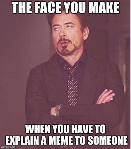 do you have to do this? | THE FACE YOU MAKE WHEN YOU HAVE TO EXPLAIN A MEME TO SOMEONE | image tagged in memes,face you make robert downey jr | made w/ Imgflip meme maker