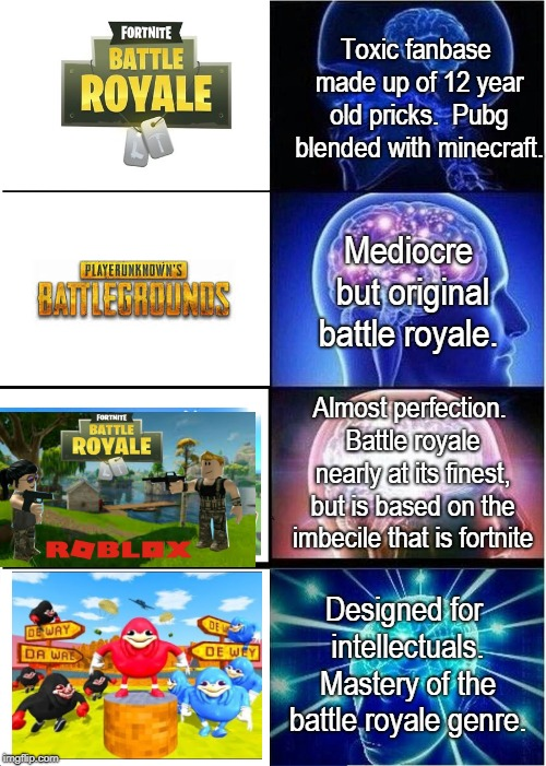 expanding brain meme toxic fanbase made up of 12 year old pricks pubg blended
