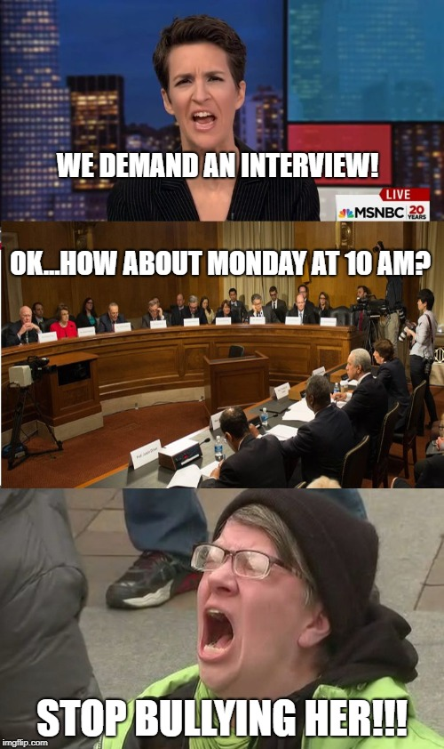 Christine Ford Interview | WE DEMAND AN INTERVIEW!                                            OK...HOW ABOUT MONDAY AT 10 AM? STOP BULLYING HER!!! | image tagged in christine blasey ford,christine ford,rachel maddow | made w/ Imgflip meme maker