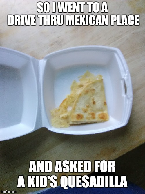 And this is all I got... |  SO I WENT TO A DRIVE THRU MEXICAN PLACE; AND ASKED FOR A KID'S QUESADILLA | image tagged in boi | made w/ Imgflip meme maker