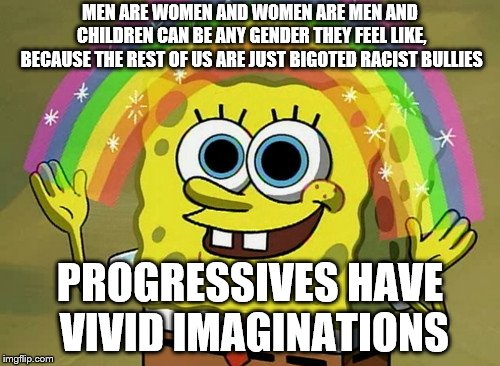 Imagination Spongebob |  MEN ARE WOMEN AND WOMEN ARE MEN AND CHILDREN CAN BE ANY GENDER THEY FEEL LIKE, BECAUSE THE REST OF US ARE JUST BIGOTED RACIST BULLIES; PROGRESSIVES HAVE VIVID IMAGINATIONS | image tagged in memes,imagination spongebob | made w/ Imgflip meme maker
